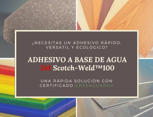 ¡Prueba nuestro adhesivo de contacto a base de agua Scotch-Weld™100, una rápida solución con certificado GREENGUARD®!