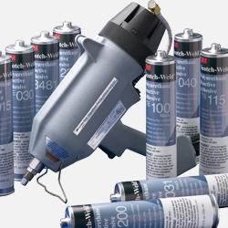 Vista de varios adhesivos líquidos termofusibles 3M comercializados por Fustier Distribuidor Preferente de productos 3M